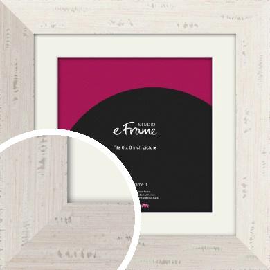 Wide Worn Cream Picture Frame & Mount, 8x8