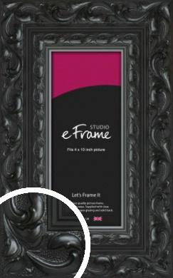 Embellished Black Picture Frame, 4x10