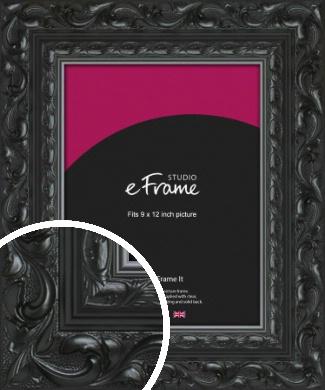 Embellished Black Picture Frame, 9x12