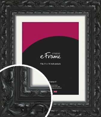 Embellished Black Picture Frame & Mount, 11x14