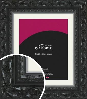 Embellished Black Picture Frame & Mount, 28x35cm (VRMP-1377-M-28x35cm)