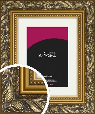 Carved Black & Gold Picture Frame & Mount (VRMP-1380-M)