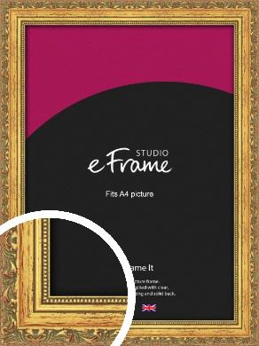 Antique Decorative Gold Picture Frame, A4 (210x297mm) (VRMP-510-A4)