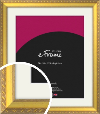Repeating Decorative Pattern Gold Picture Frame & Mount, 10x12