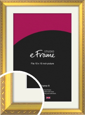 Repeating Decorative Pattern Gold Picture Frame & Mount, 10x15
