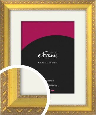 Repeating Decorative Pattern Gold Picture Frame & Mount, 15x20cm (6x8