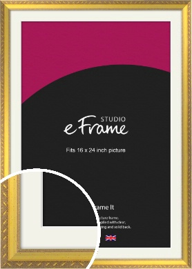 Repeating Decorative Pattern Gold Picture Frame & Mount, 16x24