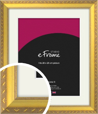 Repeating Decorative Pattern Gold Picture Frame & Mount, 20x25cm (8x10