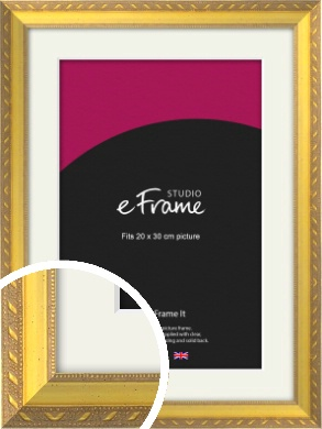 Repeating Decorative Pattern Gold Picture Frame & Mount, 20x30cm (8x12