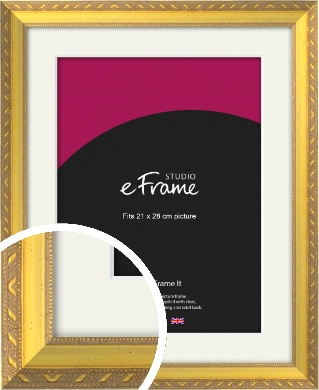 Repeating Decorative Pattern Gold Picture Frame & Mount, 21x28cm (VRMP-715-M-21x28cm)
