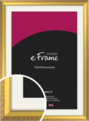 Repeating Decorative Pattern Gold Picture Frame & Mount, A3Plus (VRMP-715-M-329x483mm)