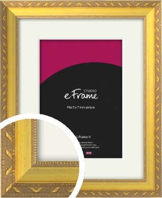 Repeating Decorative Pattern Gold Picture Frame & Mount, 5x7