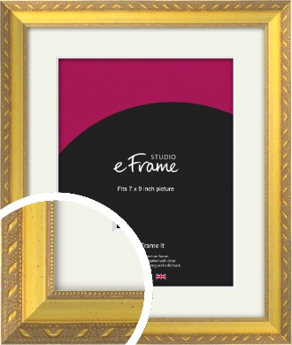 Repeating Decorative Pattern Gold Picture Frame & Mount, 7x9