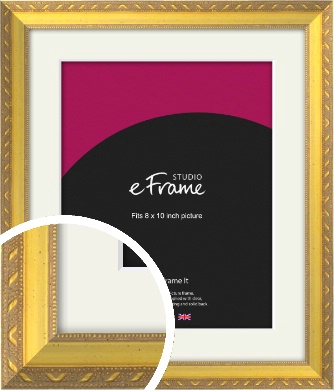 Repeating Decorative Pattern Gold Picture Frame & Mount, 8x10