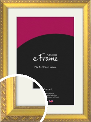 Repeating Decorative Pattern Gold Picture Frame & Mount, 8x12