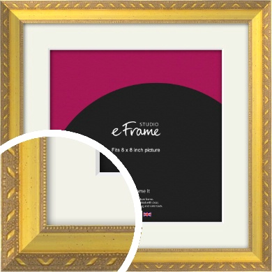 Repeating Decorative Pattern Gold Picture Frame & Mount, 8x8