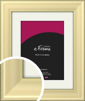 Contemporary Gold Picture Frame & Mount, 6x8