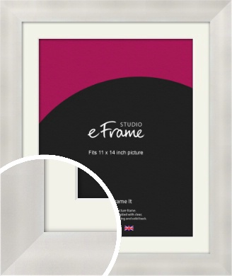 Bright Silver Picture Frame & Mount, 11x14