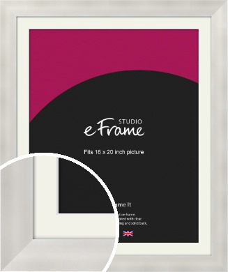 Bright Silver Picture Frame & Mount, 16x20