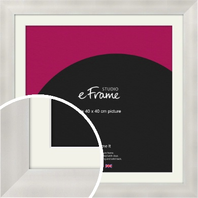 Bright Silver Picture Frame & Mount, 40x40cm (VRMP-A106-M-40x40cm)