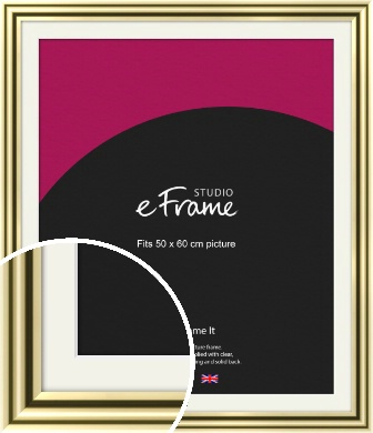 Rounded Gold Picture Frame & Mount, 50x60cm (VRMP-A091-M-50x60cm)