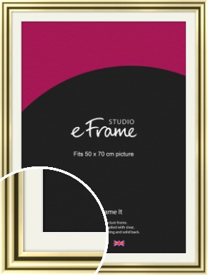 Rounded Gold Picture Frame & Mount, 50x70cm (VRMP-A091-M-50x70cm)