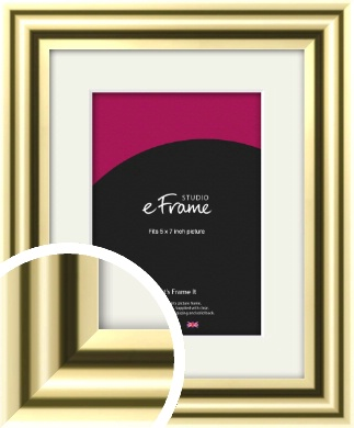 Rounded Gold Picture Frame & Mount, 5x7