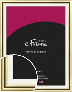 Rounded Gold Picture Frame & Mount, 60x80cm (VRMP-A091-M-60x80cm)