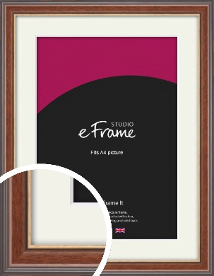 Edwardian Brown Picture Frame & Mount, A4 (210x297mm) (VRMP-287-M-A4)