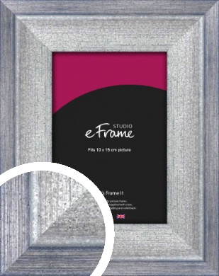 Stepped Blue & Silver Picture Frame, 10x15cm (4x6