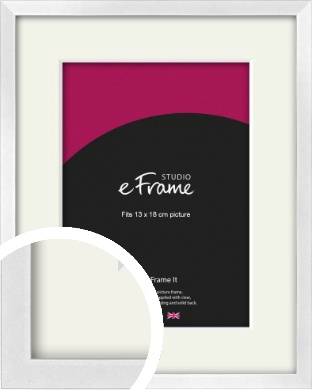 Squared Off Ice Silver Picture Frame & Mount, 13x18cm (5x7