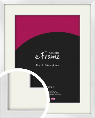 Squared Off Ice Silver Picture Frame & Mount, 18x24cm (VRMP-A098-M-18x24cm)