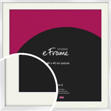 Squared Off Ice Silver Picture Frame & Mount, 40x40cm (VRMP-A098-M-40x40cm)