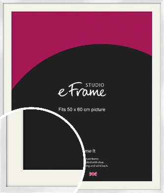 Squared Off Ice Silver Picture Frame & Mount, 50x60cm (VRMP-A098-M-50x60cm)