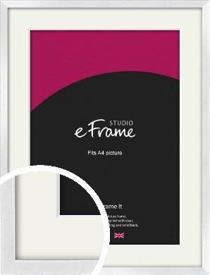 Squared Off Ice Silver Picture Frame & Mount, A4 (210x297mm) (VRMP-A098-M-A4)