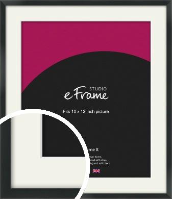 Modern Streamlined Black Picture Frame & Mount, 10x12