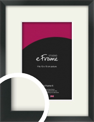 Modern Streamlined Black Picture Frame & Mount, 10x15cm (4x6