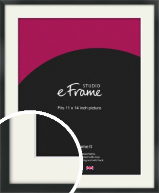Modern Streamlined Black Picture Frame & Mount, 11x14
