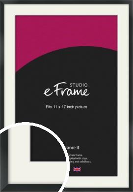 Modern Streamlined Black Picture Frame & Mount, 11x17