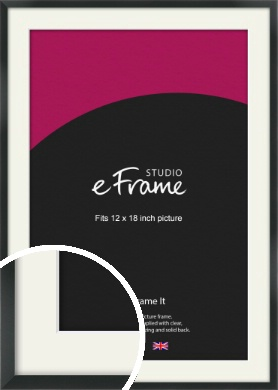 Modern Streamlined Black Picture Frame & Mount, 12x18