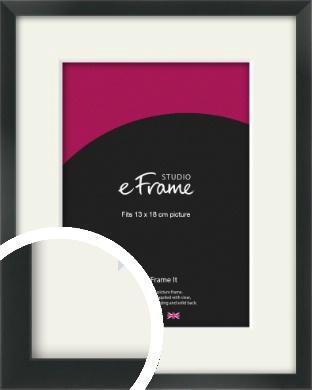 Modern Streamlined Black Picture Frame & Mount, 13x18cm (5x7