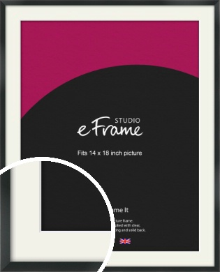 Modern Streamlined Black Picture Frame & Mount, 14x18