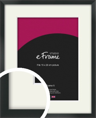 Modern Streamlined Black Picture Frame & Mount, 15x20cm (6x8