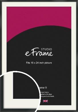Modern Streamlined Black Picture Frame & Mount, 16x24