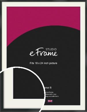 Modern Streamlined Black Picture Frame & Mount, 18x24