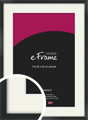 Modern Streamlined Black Picture Frame & Mount, 20x30cm (8x12