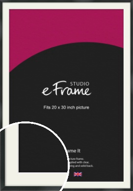 Modern Streamlined Black Picture Frame & Mount, 20x30