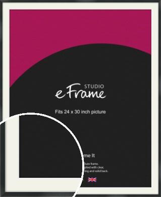 Modern Streamlined Black Picture Frame & Mount, 24x30