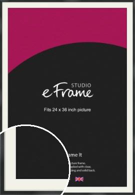 Modern Streamlined Black Picture Frame & Mount, 24x36