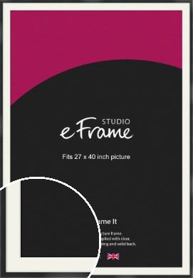 Modern Streamlined Black Picture Frame & Mount, 27x40